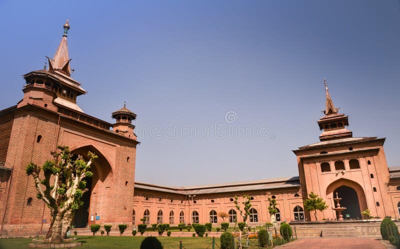 Jamia masjid在斯利那加,印度 库存图片