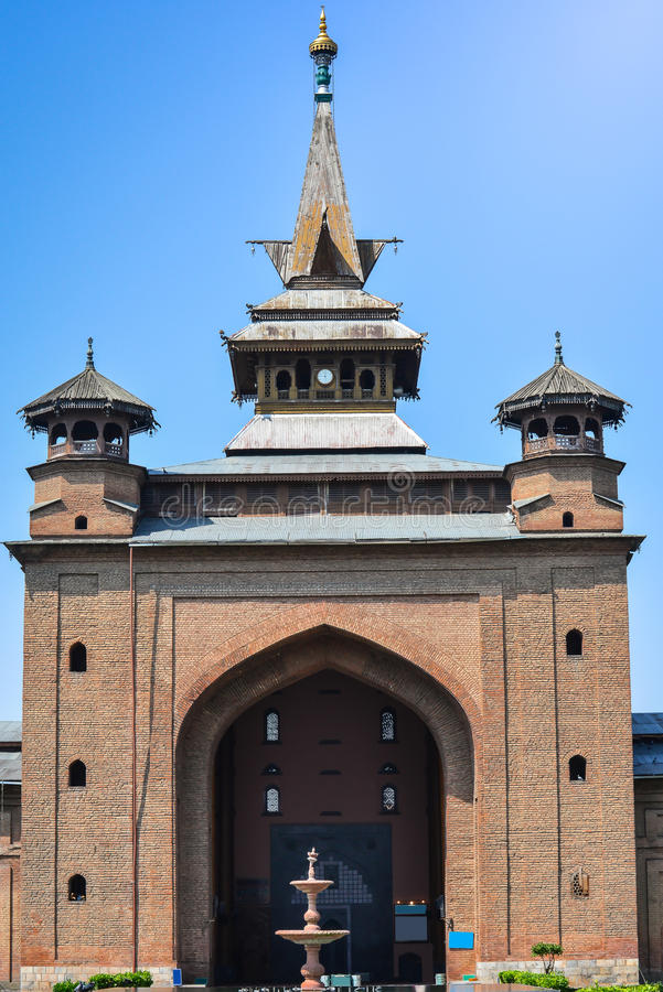 Jamia masjid在斯利那加,印度 免版税库存图片