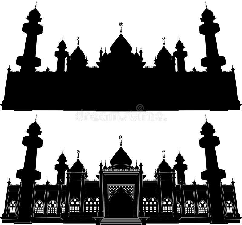 Jamiah moskéPattani kontur vektor illustrationer