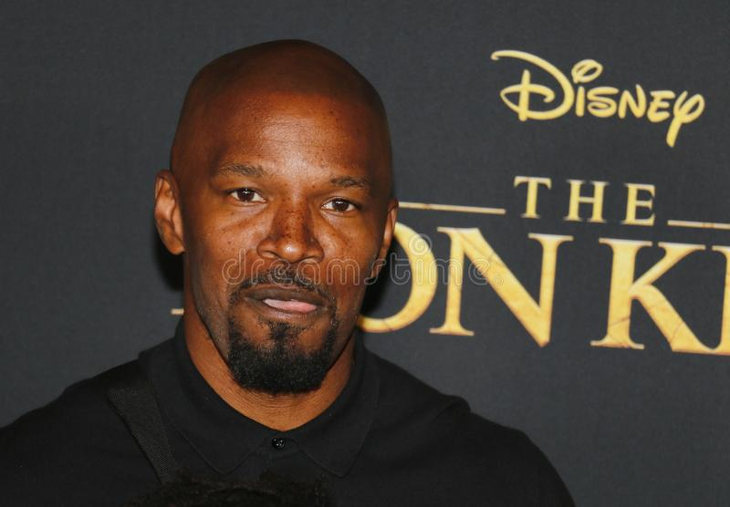 Jamie Foxx. At the World premiere of `The Lion King` held at the Dolby Theatre in Hollywood, USA on July 9, 2019 stock image