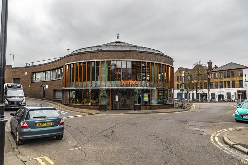 Jamie Italian Restaurant Building In Guildford. Guildford, United Kingdom - March 23, 2019: Street view of Jamie Italian restaurant building in the city of stock photos