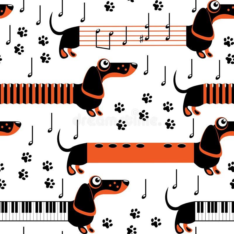 Jamników psy w postaci instrumentów muzycznych i notatek royalty ilustracja