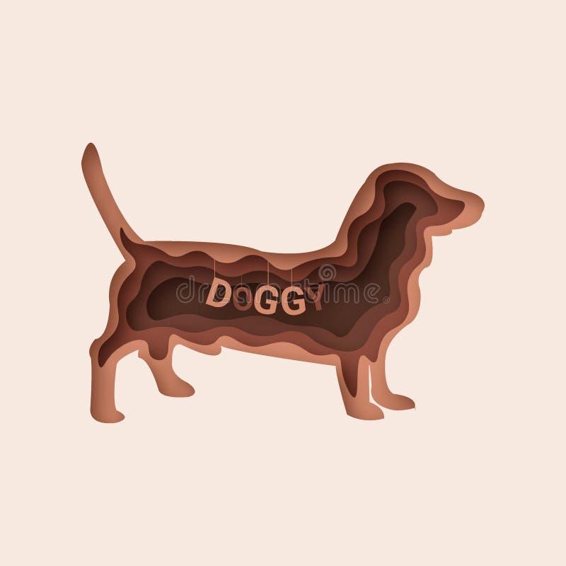 Jamnika pies, 3d abstrakta papieru rżnięty wektor 10 eps royalty ilustracja