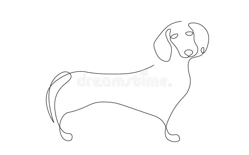 Jamnika psa jeden kreskowego rysunku wektoru ilustracja royalty ilustracja