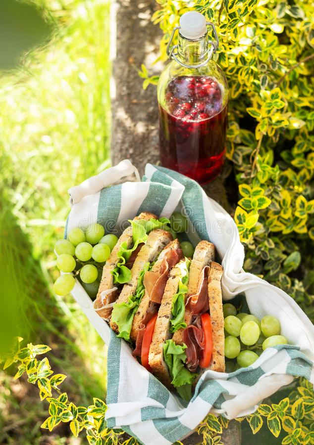 Jamon e sanduíches vegetais em uma cesta fotografia de stock royalty free