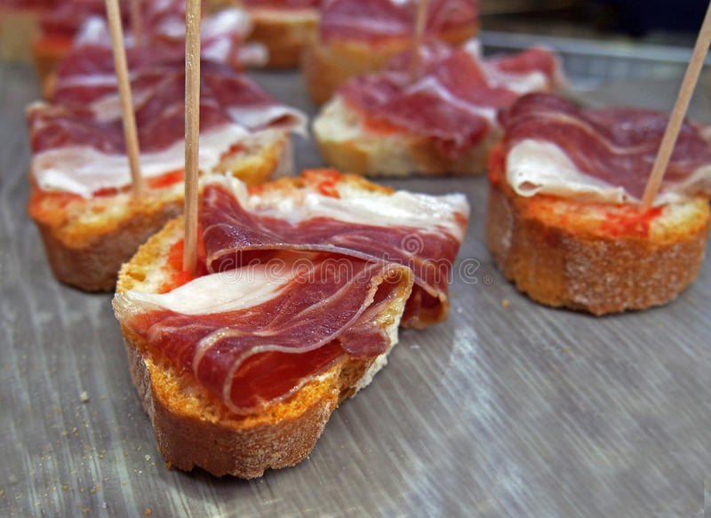 Jamon iberico, the best spanish ham tapas royalty free stock photos