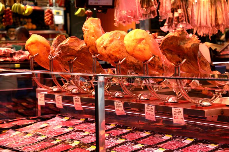 Jamon spanish ham, hamon for eating. National traditional delicacy food meat in spanish cuisine. Barcelona, Spain. Jamon spanish ham, hamon for eating. National stock images