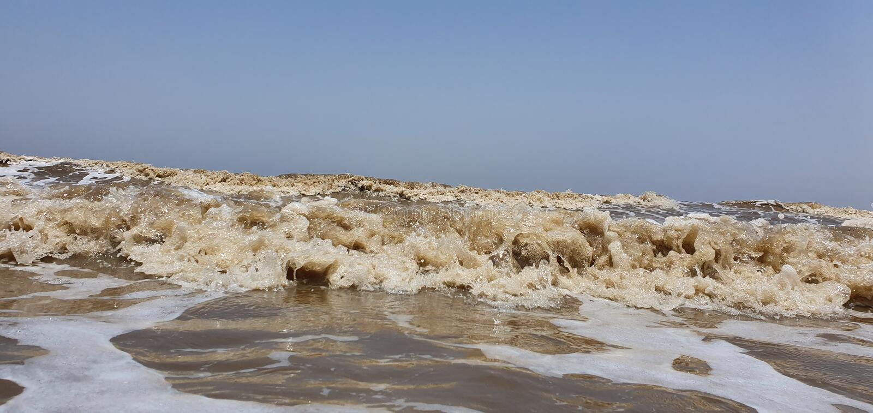 Jampore-Strand, daman, Gujarat, Indien stockbilder