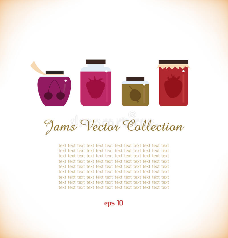 Download Jams  Collection. Strawberry Jam. Red Raspberry Ja Stock Image - Image: 31647481