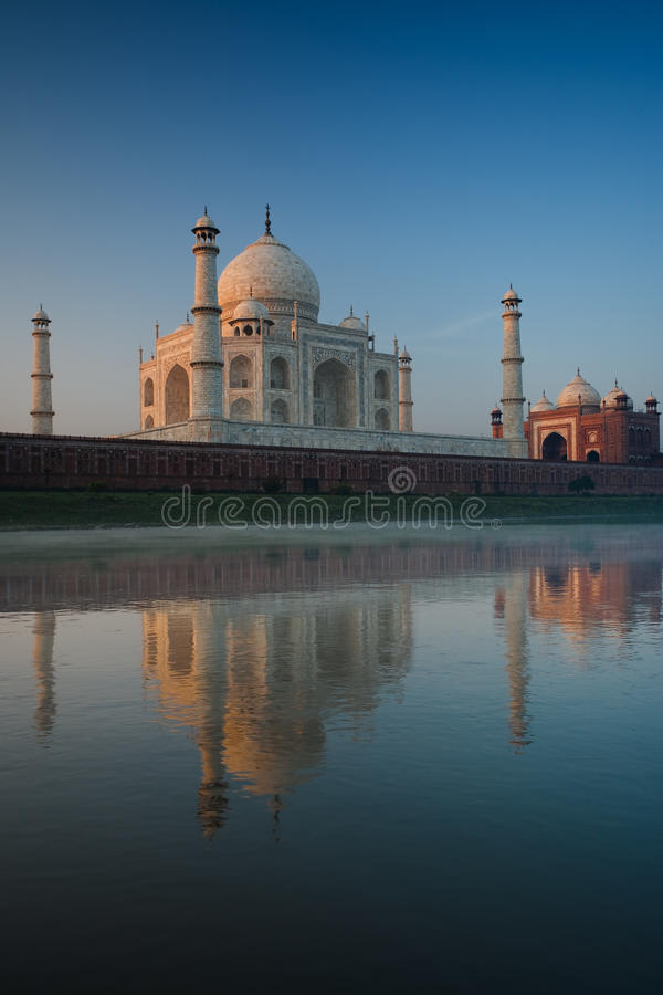 Jamuna River Reflection Empty Taj Mahal at Sunrise royalty free stock photo