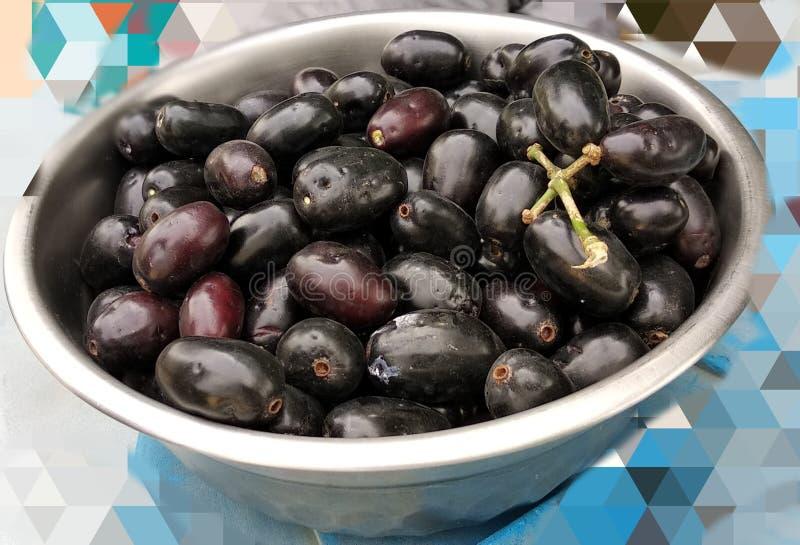 Jamunvruchten in een pot stock foto's