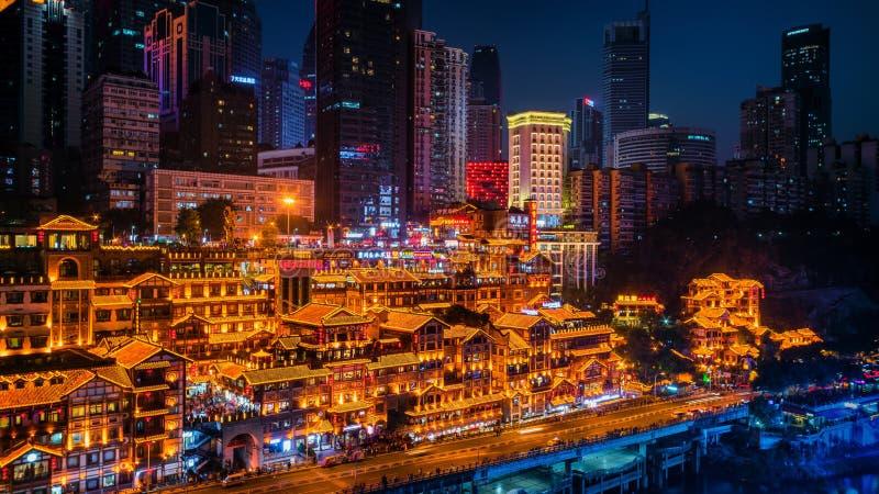jamy Chongqing hongya noc sceny zdjęcia stock