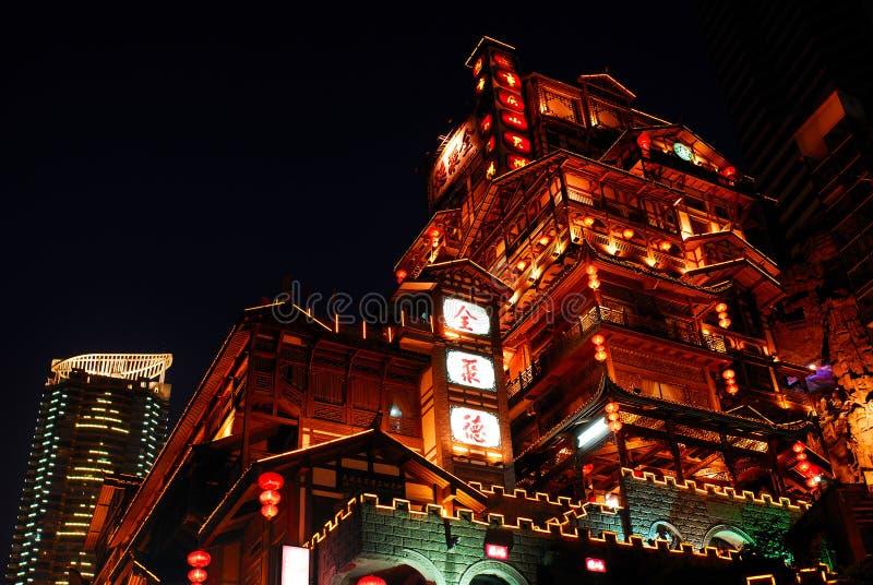 jamy Chongqing hongya noc sceny obraz stock
