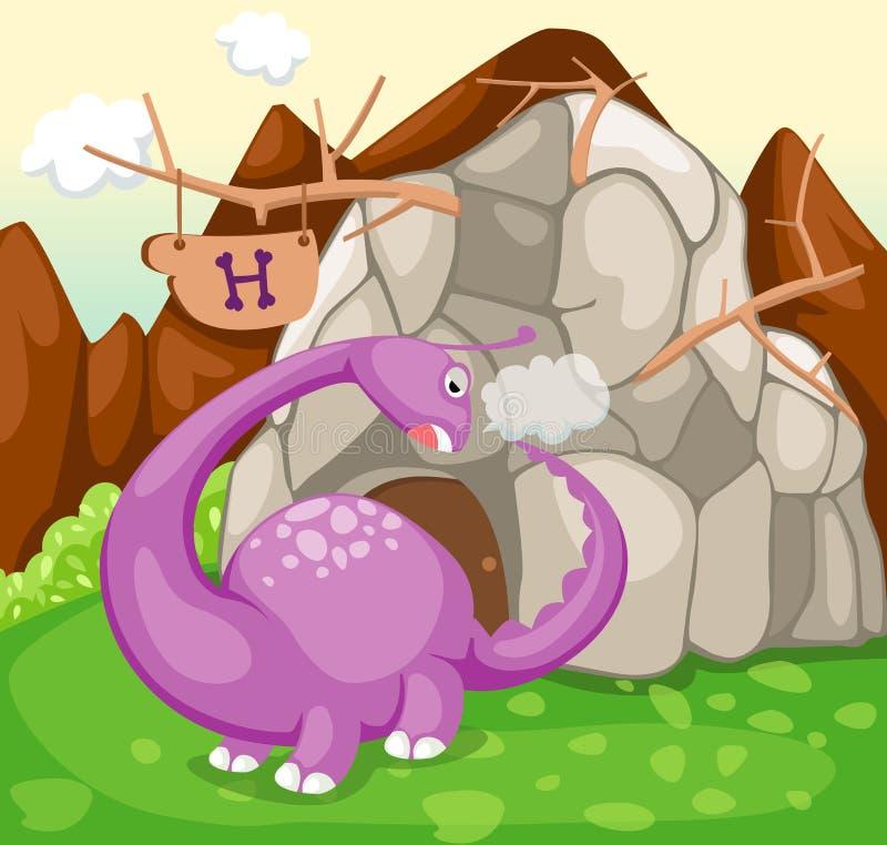 jamy dinosaura lasu skała ilustracji