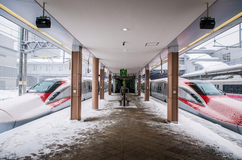 Komachi Super Express Shinkansen in winter at Akita station, royalty free stock image