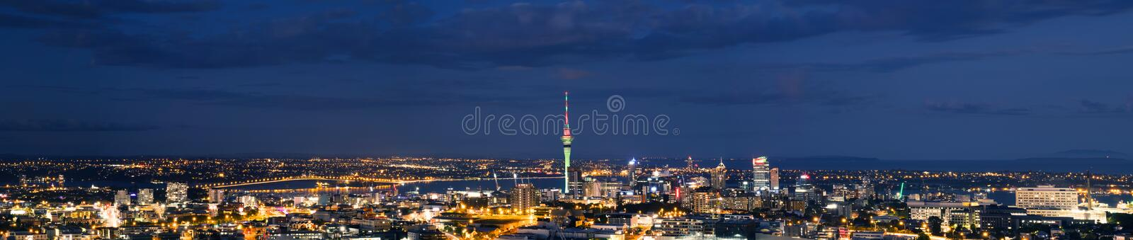2018, JAN 3 - Auckland, New Zealand, Panorama view, Beautiful landcape of the building in Auckland city at night. View from Cyri. L Bassett VC Lookout royalty free stock photo
