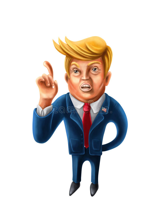 Jan.2, 2017: Cartoon caricature of President Donald Trump with i. Ndex finger pointed up stock illustration