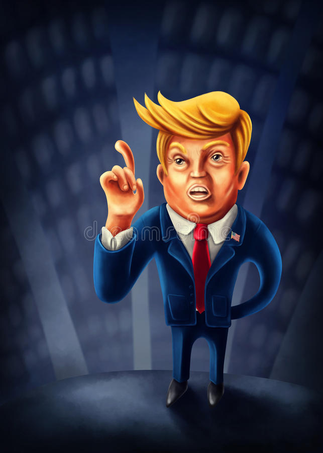 Jan. 2, 2017: Cartoon caricature of President Donald Trump with i. Ndex finger pointed up vector illustration