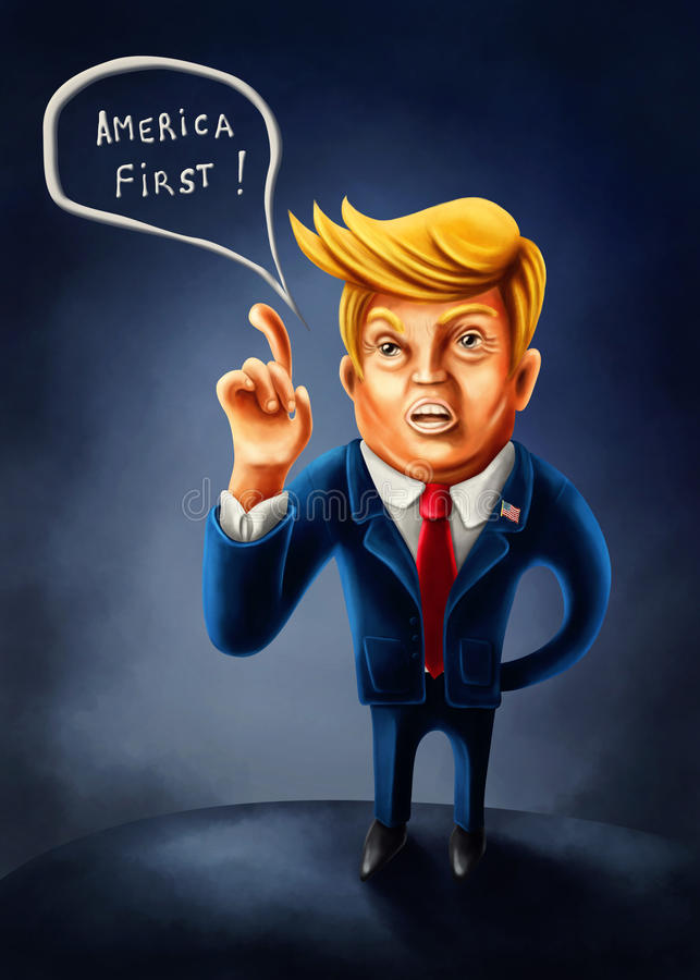Jan.2, 2017: Cartoon caricature of President Donald Trump with i royalty free illustration