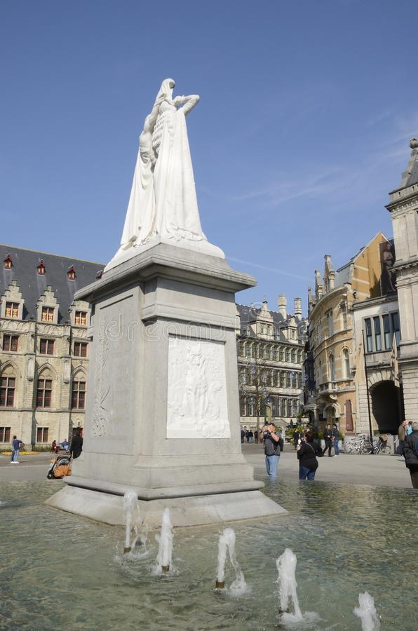 Jan Frans Willem statue in Ghent stock images
