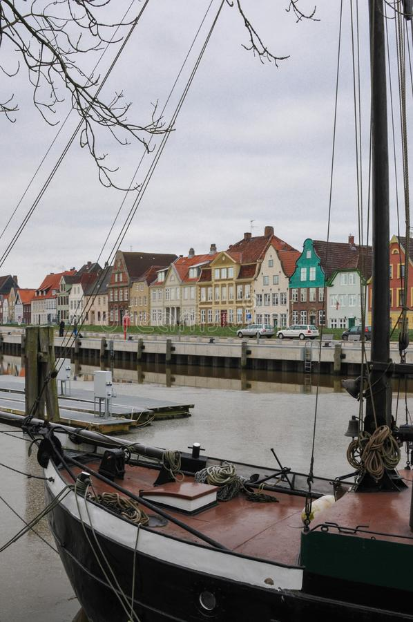 Glueckstadt germnay, Old historic harbor with old vessels royalty free stock photo