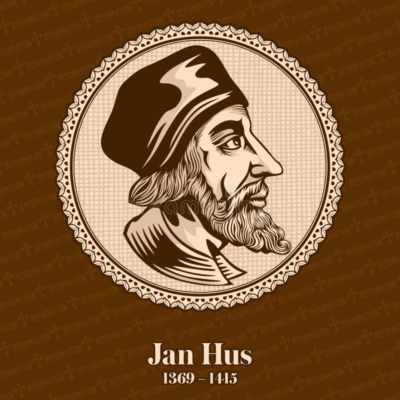 """Jan Hus 1369 †""""1415 was een Tsjechische theoloog, een Katholieke priester, een filosoof, een meester, een deken, en een rector  royalty-vrije illustratie"""