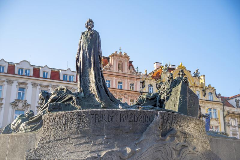 Jan Hus Memorial in old town of Prague. The Jan Hus Memorial stands at one end of Old Town Square, Prague in the Czech Republic. The huge monument depicts royalty free stock images