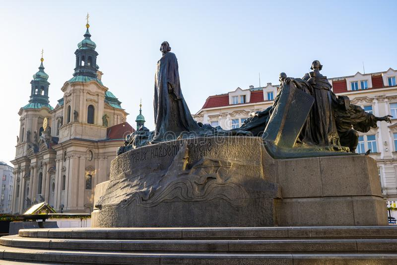 Jan Hus Memorial in old town of Prague. The Jan Hus Memorial stands at one end of Old Town Square, Prague in the Czech Republic. The huge monument depicts stock images