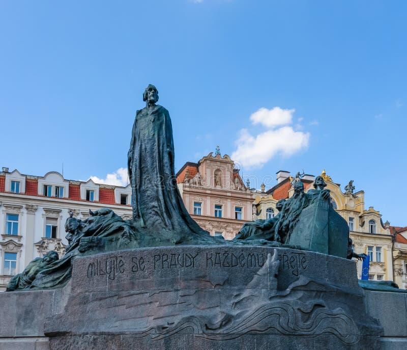 Jan Hus Memorial at Old Town Square in Prague stock image