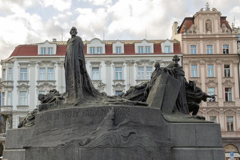 The Jan Hus Memorial, Old Town Square, Prague, Czech Republic royalty free stock photos