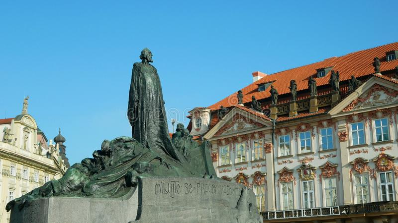 Jan Hus Memorial Old Town Square stands In Prague, statue of bronze stone depicts victorious Hussite warriors heroes or stock images