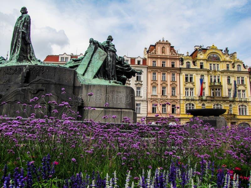 Jan Hus Memorial in Prague Old Town Square royalty free stock photography