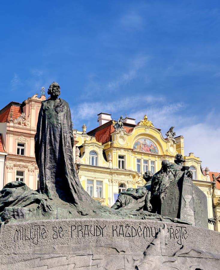 The Jan Hus Memorial in Prague, Czech Republic. The Jan Hus Memorial stands at one end of Old Town Square, Prague in the Czech Republic stock photography