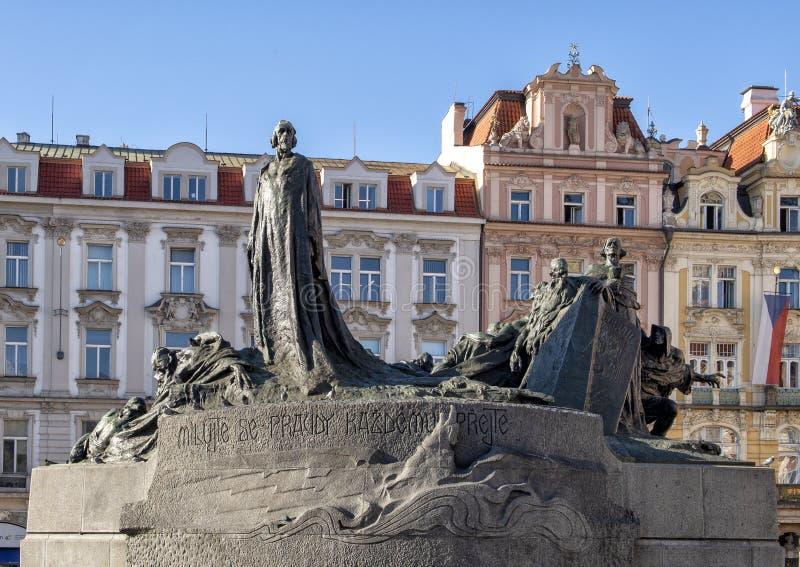 Jan Hus Memorial, vieille place, Prague, République Tchèque images libres de droits
