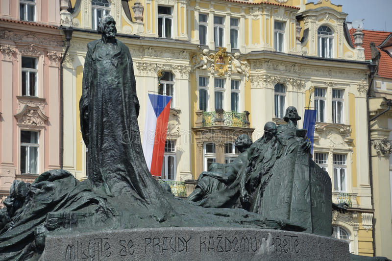 The Jan Hus monument at the old town square in Prague, Czech Rep royalty free stock photography