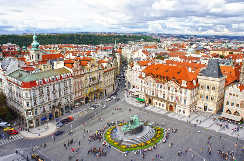 Jan Hus monument in Old Town Square, Prague stock images