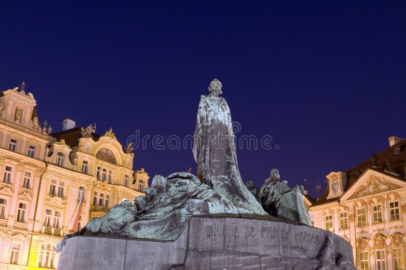 Jan Hus pomnikowa noc Stary Grodzki Praga obrazy stock