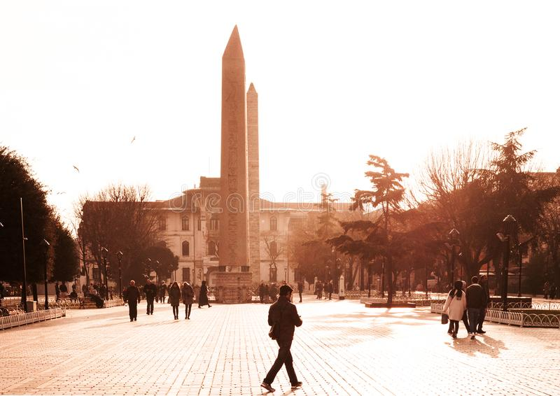 The Obelisk of Theodosius at Istanbul Hippodrome in evening ligh stock image