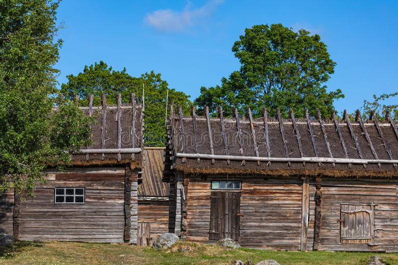 Jan Karlsgarden open air museum at Aland islands, Finland. The museum was founded in 1930s. Ethnographic park.  stock photography