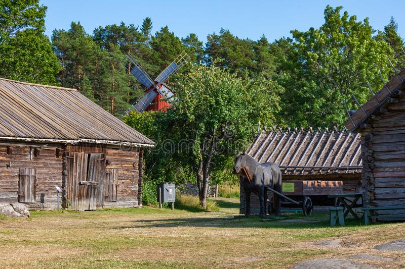Jan Karlsgarden open air museum at Aland islands, Finland. The museum was founded in 1930s. Ethnographic park.  royalty free stock image