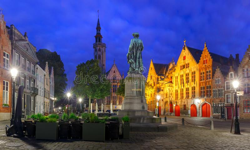 Jan Van Eyck Square in Bruges, Belgium. Night Jan Van Eyck Square in Bruges, Belgium royalty free stock photos