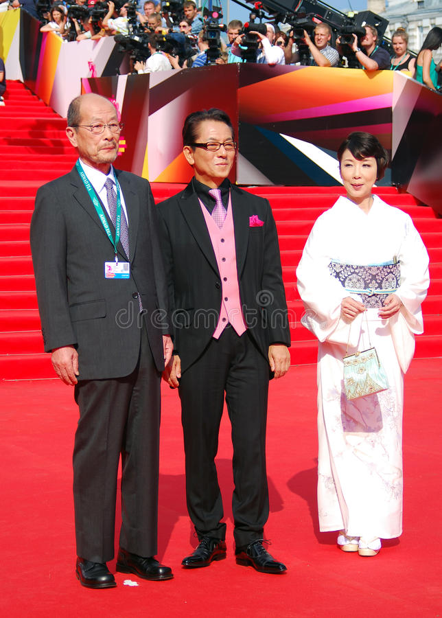 Janapese film director Yasuo Furuhata. (first at left) at XXXV Moscow International Film Festival red carpet closing ceremony. Taken on 29.06.2013 in Moscow stock photo