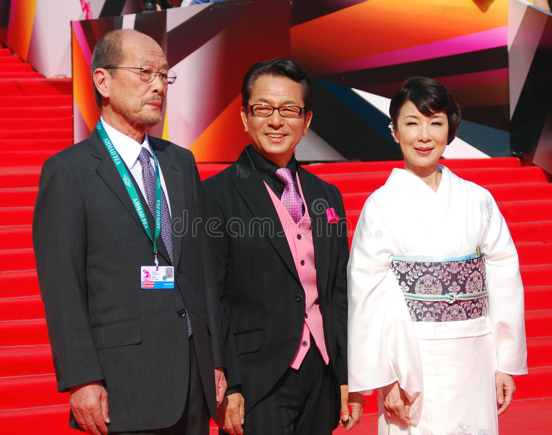 Janapese film director Yasuo Furuhata. (first at left) at XXXV Moscow International Film Festival red carpet closing ceremony. Taken on 29.06.2013 in Moscow stock images