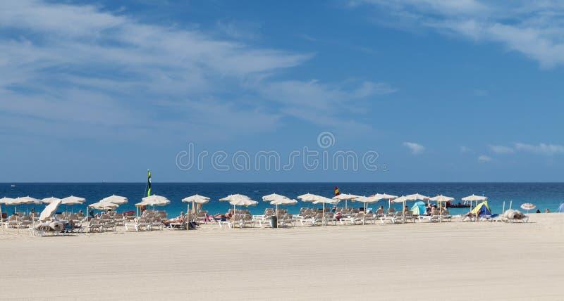Jandia海滩在费埃特文图拉岛,社论 免版税库存图片