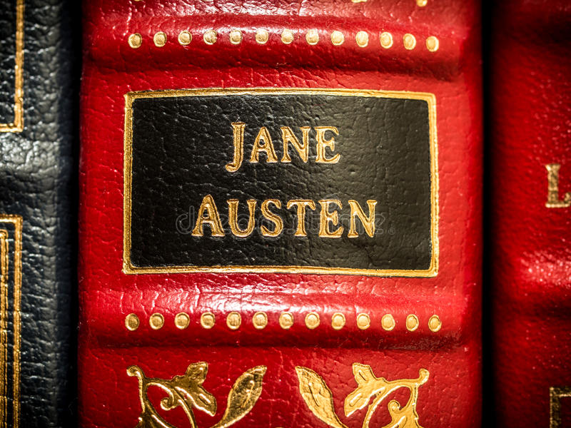 Jane Austen Author. On spine of leather book stock photo