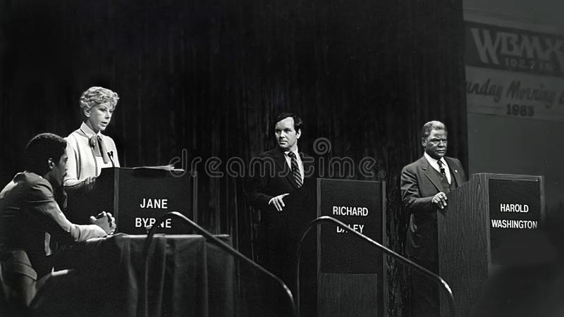 Jane Byrne, Richard Daley jr , i Harold Waszyngton fotografia royalty free
