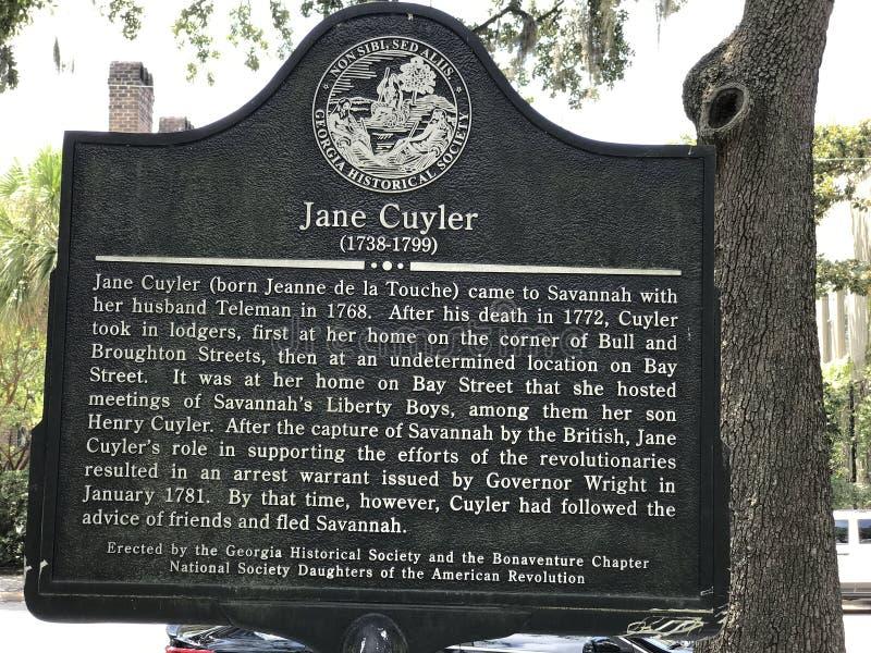 Jane Cuyler Historical Marker en la sabana, Georgia imágenes de archivo libres de regalías