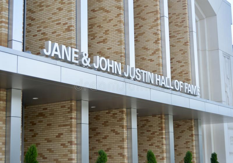 Jane et John Justin Hall de la renommée à la TCU images stock