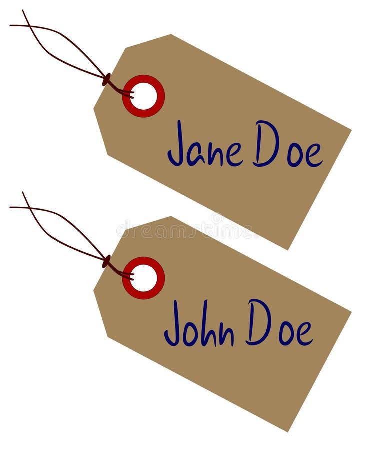 Jane And John Doe Toe etiketter på vit royaltyfri illustrationer