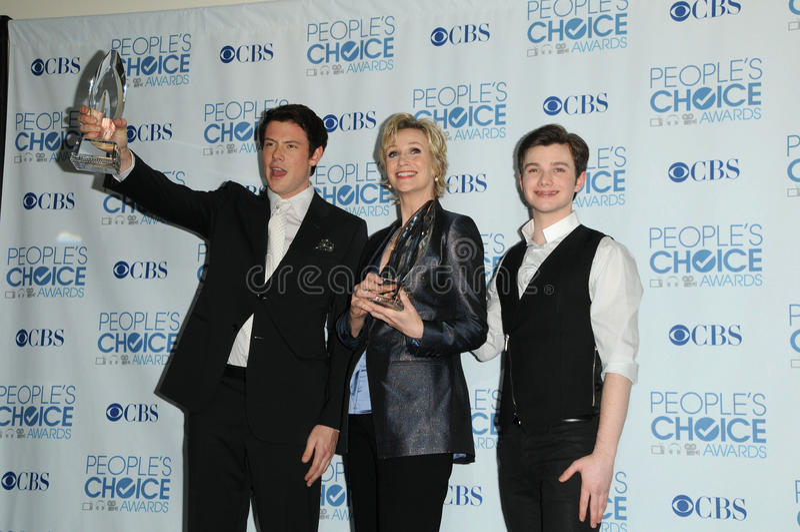 Jane Lynch, Chris Colfer, Cory Monteith royalty-vrije stock foto